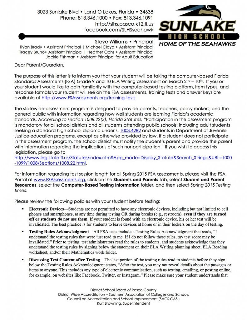 Florida Standards Assessments Grade 9 and 10 ELA Writing ...