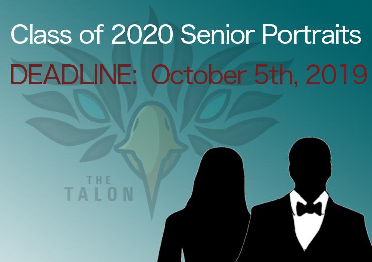 Class of 2020 Senior Portrait Deadline:  October 5th, 2019
