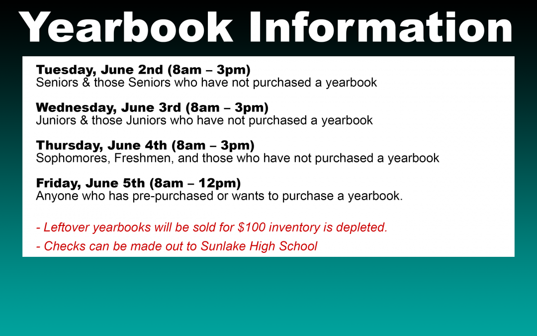 Yearbook Distribution June 2nd-5th