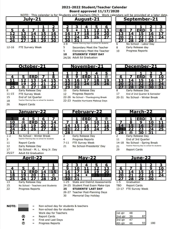 White County School Calendar 2021-2022 2021 2022 Calendar for Teachers and Students | Sunlake High School